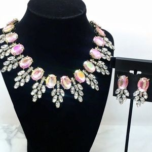 Prom Bridal Aurora Borealis Crystal Necklace Set